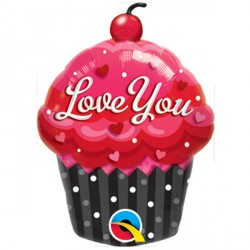"LOVE YOU CUPCAKE 14"" MINI SHAPE INFLATED WITH CUP & STICK"