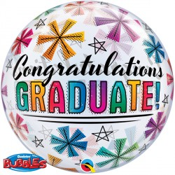 "CONGRATULATIONS GRADUATE & STARS 22"" SINGLE BUBBLE"
