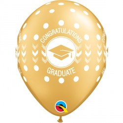 "CONGRATULATIONS GRADUATE DOTS 11"" GOLD (25CT)"