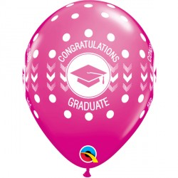 "CONGRATULATIONS GRADUATE DOTS 11"" WILD BERRY (25CT)"