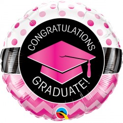 "GRADUATE PINK CHEVRON DOTS 18"" PKT IF"
