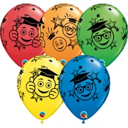 "SMILEYS GRADUATION 11"" DARK BLUE, RED, YELLOW, ORANGE & SPRING GREEN (25CT)"