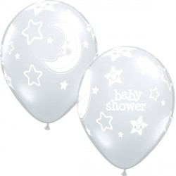 "BABY SHOWER MOON & STARS 11"" DIAMOND CLEAR (25CT)"