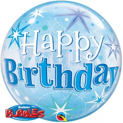 "BIRTHDAY BLUE STARBURST SPARKLE 22"" SINGLE BUBBLE"