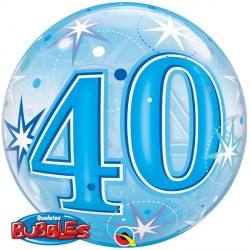 "40 BLUE STARBURST SPARKLE 22"" SINGLE BUBBLE"