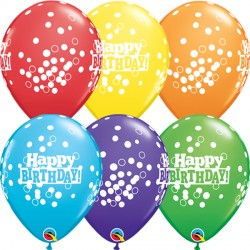 "CONFETTI DOTS BIRTHDAY 11"" RAINBOW ASSORTED (6X6CT)"