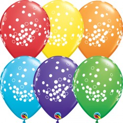 "CONFETTI DOTS 11"" RAINBOW ASSORTED (25CT)"