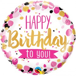 """HAPPY BIRTHDAY TO YOU PINK & GOLD 18"""" PKT"""