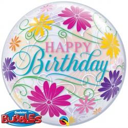 "BIRTHDAY FLOWERS & FILIGREE 22"" SINGLE BUBBLE"