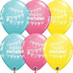 "PENNANTS & DOTS BIRTHDAY 11"" YELLOW, ROSE & CARIBBEAN BLUE (25CT) YGX"