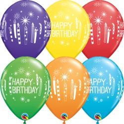 "BIRTHDAY CANDLES & STARBURSTS 11"" RAINBOW ASSORTED (25CT)"