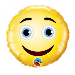 """SMILEY FACE 9"""" INFLATED WITH CUP & STICK"""
