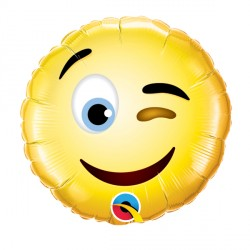 "SMILEY WINK 9"" INFLATED WITH CUP & STICK"