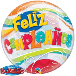 "FELIZ CUMPLEANOS PARTY 22"" SINGLE BUBBLE (5CT)"