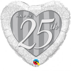 """HAPPY 25TH DAMASK HEART 18"""" PKT IF"""