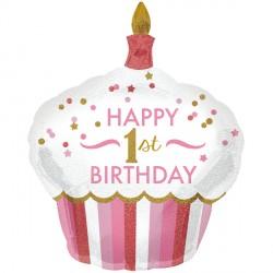 "1ST BIRTHDAY CUPCAKE GIRL SHAPE P40 PKT (29"" x 36"")"