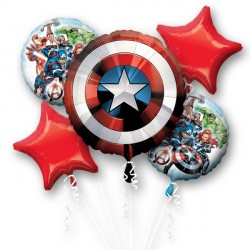 AVENGERS SHIELD 5 BALLOON BOUQUET P75 PKT (3CT)
