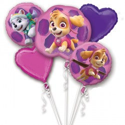 PAW PATROL SKYE & EVEREST 5 BALLOON BOUQUET P75 PKT (3CT)