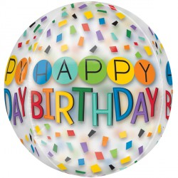 "RAINBOW HAPPY BIRTHDAY CLEAR ORBZ G20 PKT (15"" x 16"")"