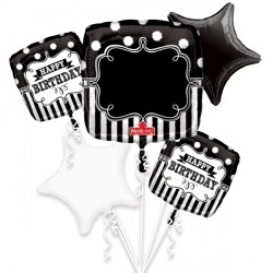 CHALKBOARD HAPPY BIRTHDAY 5 BALLOON BOUQUET P75 PKT (3CT)