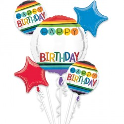 RAINBOW BIRTHDAY PERSONALISE (WITH STICKERS) 5 BALLOON BOUQUET P90 PKT (3CT)