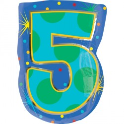 NUMBER 5 CONFETTI DOTS STANDARD JUNIOR SHAPE S60 PKT
