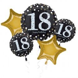 BLACK & GOLD 18 SPARKLING BIRTHDAY 5 BALLOON BOUQUET P75 PKT (3CT)