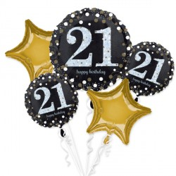 BLACK & GOLD 21 SPARKLING BIRTHDAY 5 BALLOON BOUQUET P75 PKT (3CT)
