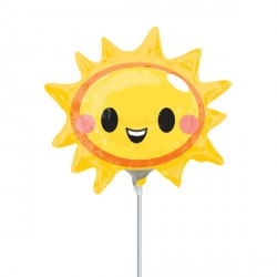 HAPPY SUN FACE MINI SHAPE A30 INFLATED WITH CUP & STICK