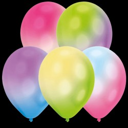 "BALLOOMINATE ASSORTED COLOURS L.E.D BALLOONS 11"" (5CT X 12 PACKS)"