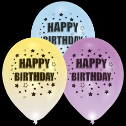"BALLOOMINATE BIRTHDAY ASSORTED  L.E.D BALLOONS 11"" (4CT X 12 PACKS)"