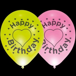 "BALLOOMINATE BIRTHDAY HEARTS ASSORTED  L.E.D BALLOONS 11"" (4CT X 12 PACKS)"