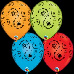 "Q-LITE CONGRATULATIONS LITE ASSORTED L.E.D BALLOONS 11"" (4CT X 6 PACKS)"