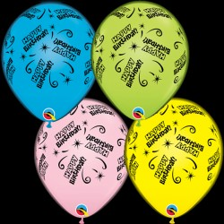 "Q-LITE BIRTHDAY LITE YELLOW, PINK, BLUE & GREEN L.E.D BALLOONS 11"" (4CT X 6 PACKS)"