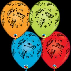 "Q-LITE BIRTHDAY LITE RED, ORANGE, BLUE & GREEN L.E.D BALLOONS 11"" (4CT X 6 PACKS)"