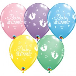"BABY SHOWER FOOTPRINTS & HEARTS 11"" PASTEL ASSORTMENT (25CT)"