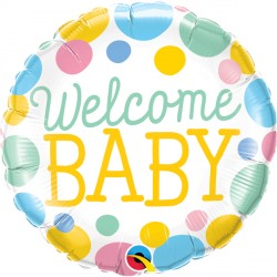 "WELCOME BABY DOTS 18"" PKT"
