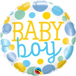 "BABY BOY DOTS 18"" PKT"