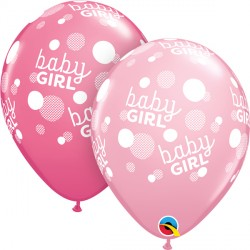 "BABY GIRL PINK DOTS-A-ROUND 11"" PINK & ROSE (25CT)"