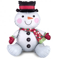 "SITTING SNOWMAN MULTI-BALLOON A70 PKT (17"" x 21"")"