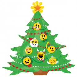 "EMOTICON CHRISTMAS TREE SHAPE P30 PKT (34"" x 33"")"