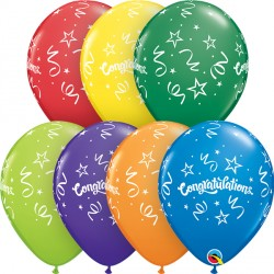 "CONGRATULATIONS STREAMERS 11"" CARNIVAL ASSORTMENT (25CT)"