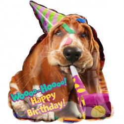 BASSET HOUND BIRTHDAY AVANTI JUNIOR SHAPE S40 PKT