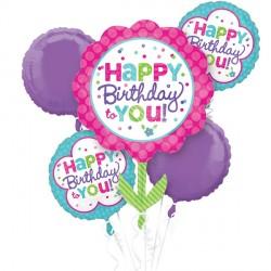 PINK & TEAL BIRTHDAY 5 BALLOON BOUQUET P75 PKT (3CT)