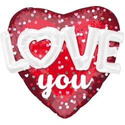 HEARTS & HOLO DOTS LOVE YOU MULTI BALLOON P70 PKT