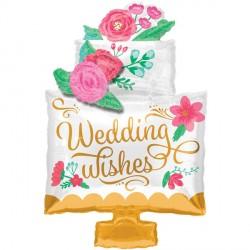 "WEDDING WISHES CAKE SHAPE P40 PKT (21"" x 30"")"