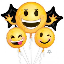 EMOTICON SMILES 5 BALLOON BOUQUET P75 PKT (3CT)