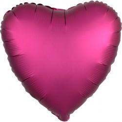 POMEGRANATE SATIN LUXE HEART STANDARD S15 FLAT A