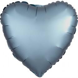 STEEL BLUE SATIN LUXE HEART STANDARD S15 FLAT A