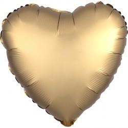 GOLD SATEEN SATIN LUXE HEART STANDARD S15 FLAT A